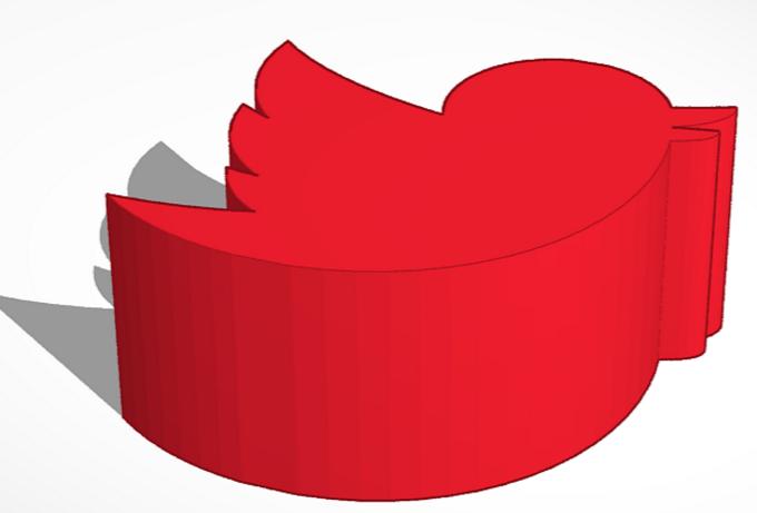 Captura de pantalla con el logotipo de Twitter en 3D