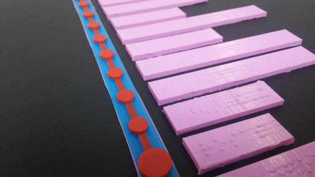 Imagen de un cartón pluma con una línea y varias etiquetas en braille impresas en 3D pegadas a él.